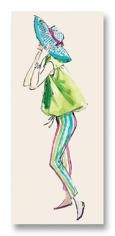 Sandy Notecard vintage fashion illustration by my late mom, Hilda Glasgow $5
