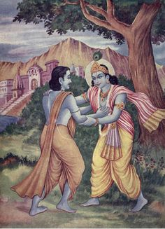Sri Krishna encourages Uddhava with His loving glance, touch and speech.