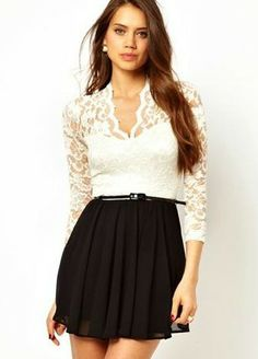 White V Neck Lace Long Sleeve Black Pleated Dress