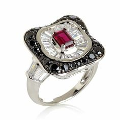 Victoria Wieck Absolute and Created Ruby Art Deco Ring
