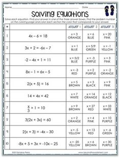 Solving TwoStep Equations Worksheet Teaching and math