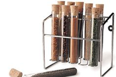 Christmas Gifts for Geeks. To match that test tube chandelier (or if it's out of your price range), how about a spice rack that would make any lab veteran smile? Ten test tubes sealed with corks hold any spice you'd like, and the rack can be mounted to a wall or site on the kitchen counter. Get a wax pencil to label the tubes and you're set to experiment with flavor.