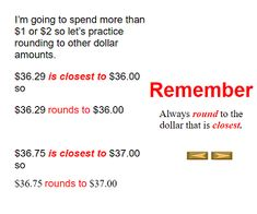 "This is an image from this resource on the Internet4Classrooms' ""Sixth Grade Interactive Math Skills - Rounding or Estimating"" resource page:    Let's Go Shopping.    Estimate by rounding to the nearest dollar as you shop."