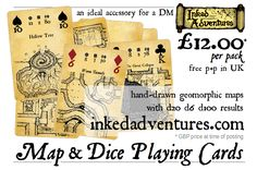 Proof graphic for magazine advert graphic for Inked Adventures Map & Dice Playing Cards. http://inkedadventures.com/main Etsy: https://www.etsy.com/uk/listing/526074766/inked-adventures-map-dice-cards  #DnD #PlayingCards #Pathfinder