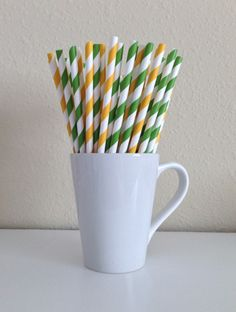 Paper Straws - 25 Green and Golden Yellow Striped Party Straws Green Bay Packers Birthday Wedding Bridal Shower Baby Shower Graduation