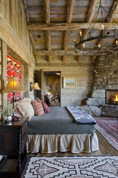 How to Create Your Rustic Bedroom Look Stunning: Rustic Bedroom Ideas And Bed Skirts In Rustic Bedroom Design Ideas With Vaulted Ceiling And Stacked Stone And Wooden Wall Also Corner Fireplace ~ franklester.com Bedroom Inspiration