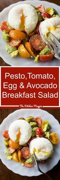 Pesto Tomato, Egg & Avocado Breakfast Salad from @kitchenmagpie