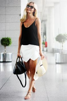 """That's what I was wearing last time I was here"" - Impress your friends, show them your style. They'll discover your look next time they come by -- ➤ ♥ white skirt black top contrast with very simple look. Panama hat and shades with black leather handbag"