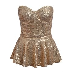 Sparkly gold peplum top in love