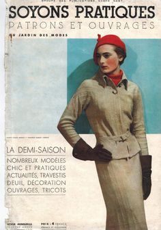 SOYONS PRATIQUES  women's monthly fashion magazine by Condé Nast - February 1934 spring patterns issue - French 30s vintage