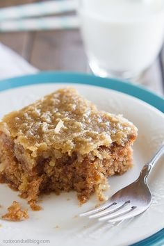*Easy Old-fashion Oatmeal Cake*  For topping use 1/2 coconut and 1/2 pecans.