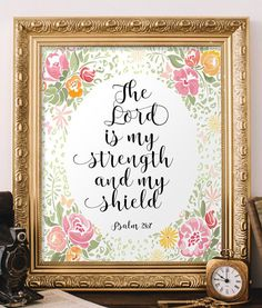 Psalm 28:7 The Lord is my strength Bible von TwoBrushesDesigns