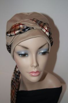 Chemo Hat Cancer Cap all Cotton Jersey Knit in Tan Nude Camel Turban Womens Alopecia Free Ship in USA. $20.00, via Etsy.: