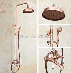 Antique Red Copper Bathroom Rain Shower Faucet Set Bathtub Mixer Tap In  Home, Furniture U0026 DIY, Bath, Taps