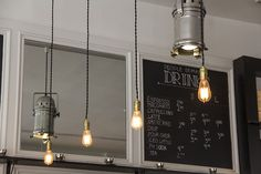 cafe style ♥ via bleucolette Hanging Light Bulbs, Tiled Hallway, Cafe Style, Minimalist Living, Vintage Lighting, Modern Industrial, Restaurant Design, Garden Inspiration, Track Lighting