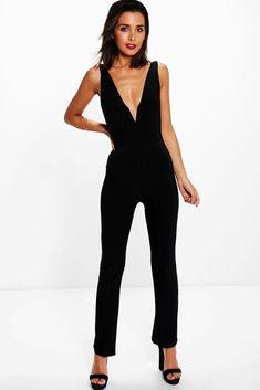 2f816d870de Boohoo Ellie Plunge V Neck Jumpsuit Black Size UK 12 rrp 18 DH170 FF 27