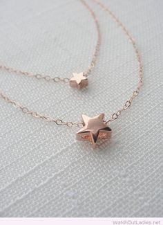 Double rose gold stars necklaces