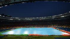 Dancers perform during the closing ceremony at the Olympic Stadium in Kyiv ahead of the UEFA EURO 2012 final between Spain and Italy.  Danseurs au cours de la cérémonie de clôture au Stade olympique de Kiev avant la finale de l'UEFA EURO 2012 entre l'Espagne et l'Italie