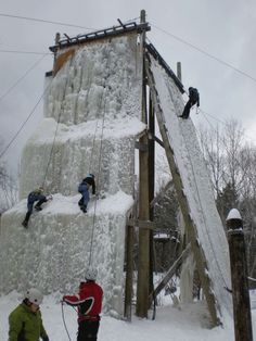 3 climbers ascending the ice wall Home Climbing Wall, Ice Climbing, Park Playground, Outdoor Playground, Ropes Course, Outdoor Education, Adventure Activities, Small House Design, Playgrounds