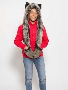 What's Your Spirit Animal? ...... GREY WOLF (Faux Fur) ............ Traits: Loyal > Social > Teacher .... Find out more about the #Grey #Wolf #Spirit #Animal at: https://www.spirithoods.com/kids/girls/greywolf/783/# $69 #Gifts #Fashion #SpiritHood #SpiritHoods #Hoodie #FauxFur #Paws #Scarf #Kids #Boys #ProBlue