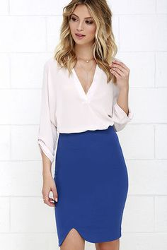 Synchronize your love for minimal-chic and classic basics with the Wavelength Royal Blue Pencil Skirt! From a high waist, silky soft knit contours your curves to a flattering hem with curved notch. Hidden back zipper. Belt not included.