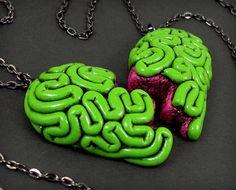 I Heart Brains Best Friends Necklace Set, original split zombie brain heart BFF necklaces
