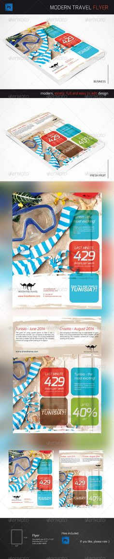 Travel Agency Flyer  #GraphicRiver         Double sided flyar. For any kind of business or any type of shop / stroe. In particular for travel agency or sports event. All text layers are full type and can be edited with the click of a Button. You can easily change color of this flayer.   All you need to do is put your logo, photo and change the text.   Color Profile: CMYK Resolution: 300 dpi Cut dimensions: 8.5'' x 11.0'' Size: 8.75'' x 11.25'' Bleeds: 0.125''   Fonts used: EXO ( .google…