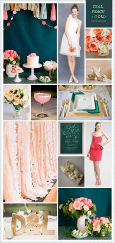 Less pink in hours, but basics idea: Teal, Peach + Gold Wedding Inspiration Gold Color Palettes, Gold Color Scheme, Green Color Schemes, Wedding Color Schemes, Color Palate, Color Combos, Elegant Wedding Cakes, Trendy Wedding, Dream Wedding
