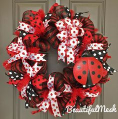 Ladybug Black and Red Polka Dot Deco Mesh Wreath by BeautifulMesh