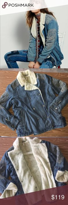 Free People Slouchy Sherpa Jacket Pre owned with no signs of wear.Decorated Slouchy Sherpa Jacket | Embroidered chambray coat featuring super soft and warm faux Sherpa lining. Double breasted snap closures with hip pockets. Size Medium. Free People Jackets & Coats Jean Jackets