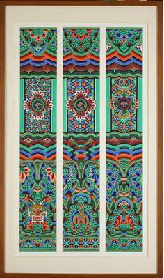 Korean Traditional, Traditional Design, Korean Art, Asian Art, Korean Colors, Korean Painting, Geisha Art, Korean Design, Chinese Patterns
