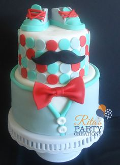 - Little man theme baby shower cake