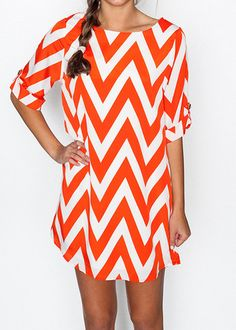 Orange Chevron Shift Dress | Suite One  $42.00 perfect for gameday!