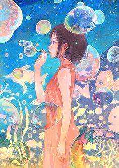 Manga / Anime Sea Fish Bubbles Watercolor