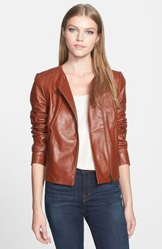 Classiques Entier® 'Lamb Moss' Zip Front Leather Jacket available at #Nordstrom