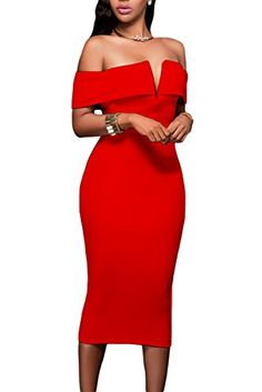 Alvaq Womens Sexy V Neck Off The Shoulder Evening Bodycon Club Midi Dress >>> Continue to the product at the image link.-It is an affiliate link to Amazon.
