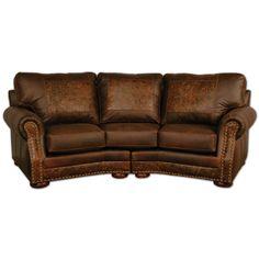Western Furniture: Cameron Ranch Dejavu Holster Curved Sofa|Lone Star Western Decor