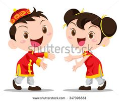 Vector illustration cute Chinese Kids action be happy