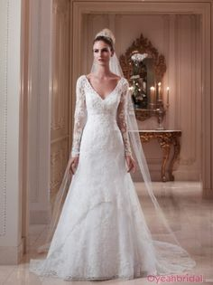 Vintage A-line V Neck Lace Long Sleeves Wedding Dress WD-3011 $189.99
