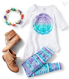 Give her the star treatment by pairing these gotta-have print leggings and matching tops with awesome ankle boots.