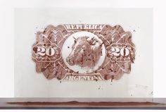 "Cristina Piffer  20 pesos, 2010  Dehydrated cow blood, glass, stainless steel  39 3/8"" x 57 3/32""  Edition: 3   View Artwork Descriptions  IGNACIO LIPRANDI ARTE CONTEMPORANEO  Buenos Aires    Make an Offer"