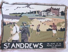 St Andrews Golf Course Tapestry Blanket Throw Wall Hanging Royal Game Green Tan #
