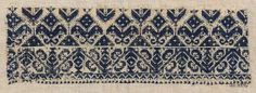 Embroidery fragment      Moroccan   Dimensions      Overall: 10.5 x 30 cm (4 1/8 x 11 13/16 in.)  Medium or Technique      Cotton and silk; embroidery  Classification      Textiles   Accession Number      22.256