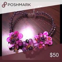 """Purple Flower Stone Statement Necklace Beautiful silver tone multi colored beads and crystal 16' long + extension with lobster claw closure. Purple flowers.  Made of semi-precious stone, acrylic and glass crystals.  Pendants are up to 2"""" tall. Charming Charlie Jewelry Necklaces"""
