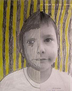 Kids self-portrait drawings