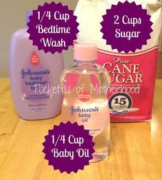 *I would substitute the baby oil.with coconut oil!! * sugar scrub - this would smell amazing!