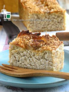 okara (soy curds) coconut & banana cake - Wheat, egg and dairy free. This is so addicting. Low Carb Sweets, Gluten Free Sweets, Vegan Sweets, Healthy Sweets, Healthy Baking, Vegan Desserts, Healthy Food, Okara Recipes, Coconut Recipes