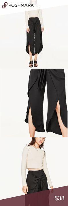 Zara black tie front trousers Zara black trousers open front legs🔥🔥🔥 Zara Pants
