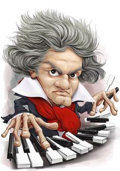 Caricature of Beethoven Cartoon Faces, Funny Faces, Cartoon Drawings, Funny Caricatures, Celebrity Caricatures, Caricature Drawing, Music Humor, Funny Art, Pop Art
