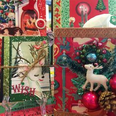 Christmas journals large and small, a tissue box...all adorned with vintage Christmas images. Made by Terri Yellalonis.